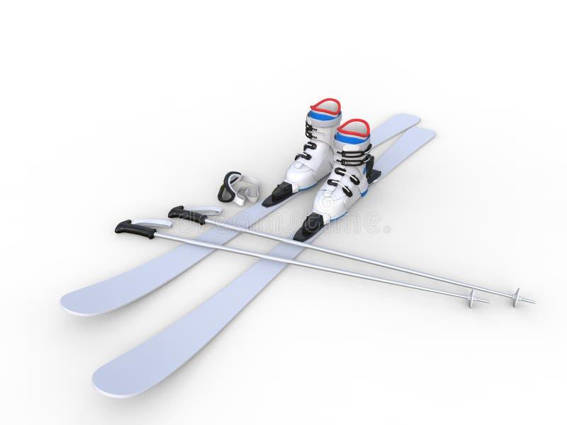 Esquis com botas de esqui - ângulo largo ilustração do vetor