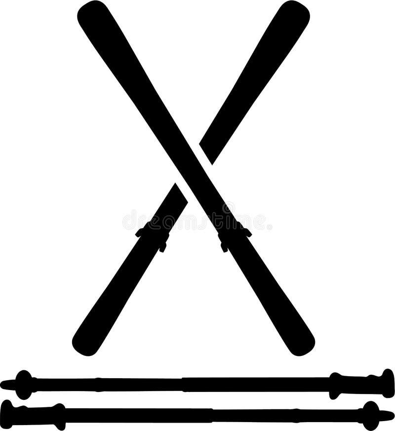Esquis com Ski Sticks ilustração stock