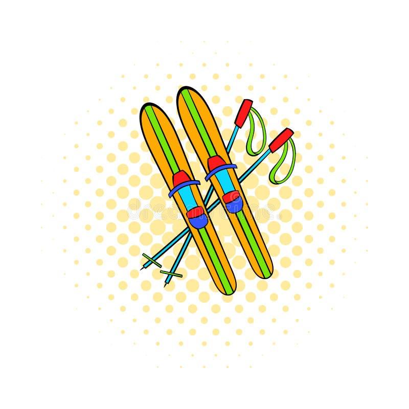 Esquis e varas ícone, estilo da banda desenhada ilustração stock