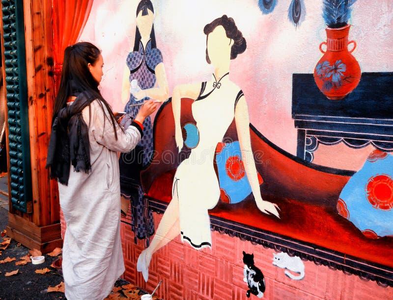 Esquisse et peinture à Changhaï photographie stock libre de droits