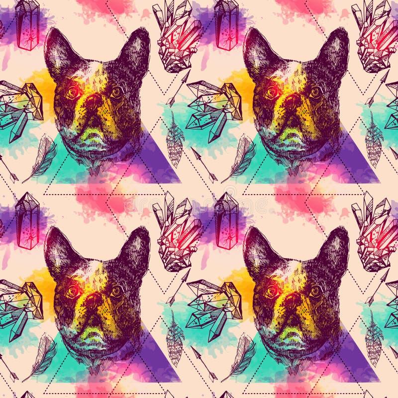 Esquisse sans couture de modèle de beau vecteur tiré par la main du chien illustration de vecteur