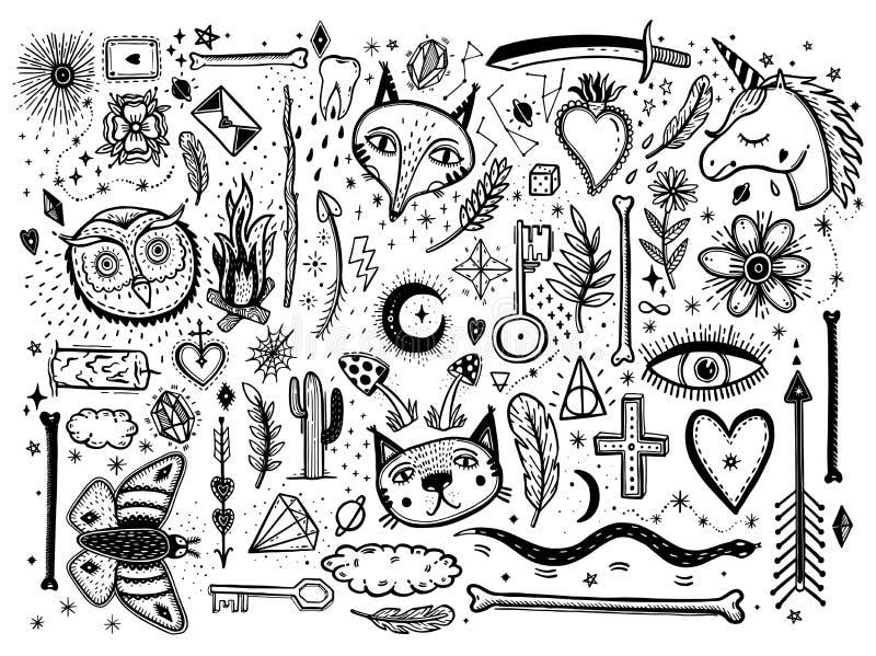 Esquissez l'illustration graphique avec le grand ensemble de symboles tirés par la main mystiques et occultes Dirigez l'illustrat illustration libre de droits