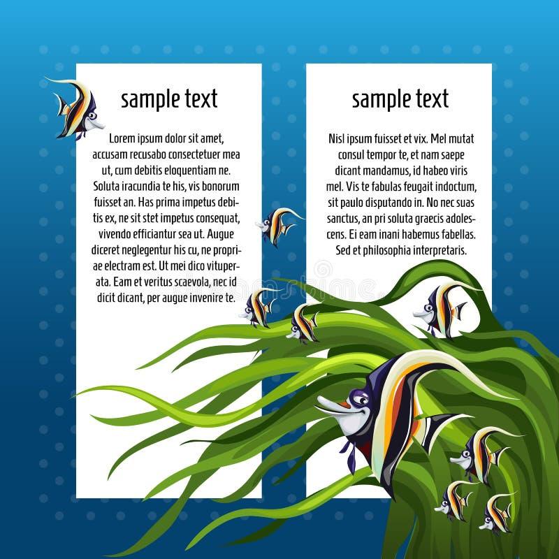Esquissez la carte avec l'espace pour le cornutus de zanclus des textes et de poissons Un échantillon de l'affiche, d'invitation  illustration de vecteur