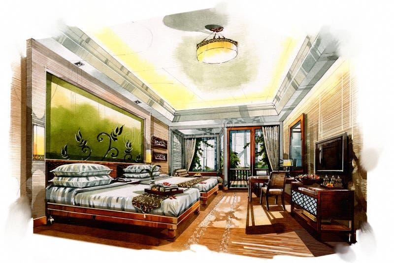 Esquissez la chambre à coucher jumelle intérieure dans une aquarelle illustration de vecteur