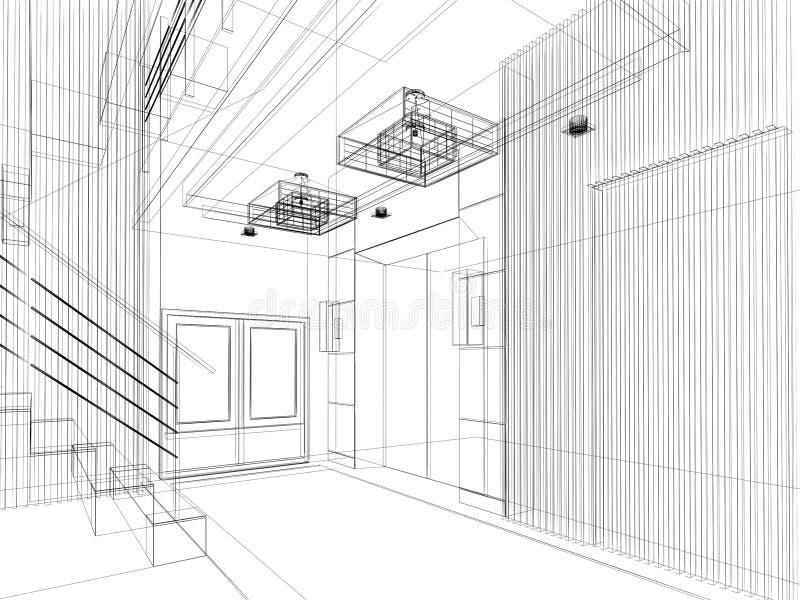 Esquissez la conception du hall intérieur, cadre de fil illustration stock