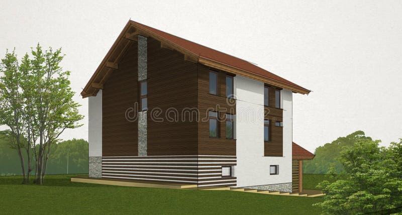 Esquissez la maison de brique et de bois de construction illustration stock