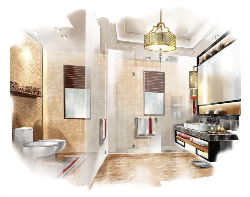 Esquissez La Salle De Bains Intérieure De Perspective Dans Une - Perspective salle de bain