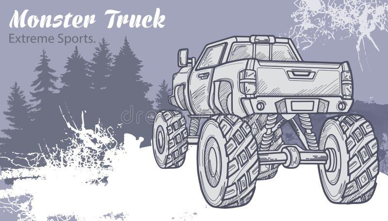 Esquissez le camion de monstre sur le paysage graphique de forêt illustration de vecteur