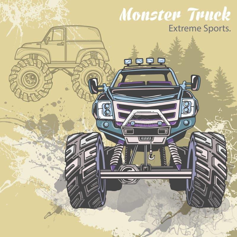 Esquissez le camion de monstre sur le paysage graphique de forêt Rétro illustration de vecteur Sports extrêmes Aventure, voyage illustration stock