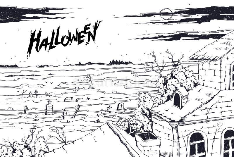 Esquissez le cimetière fantasmagorique de paysage et le vieux manoir gothique abandonné Nuit éclairée par la lune tout le jour de illustration libre de droits