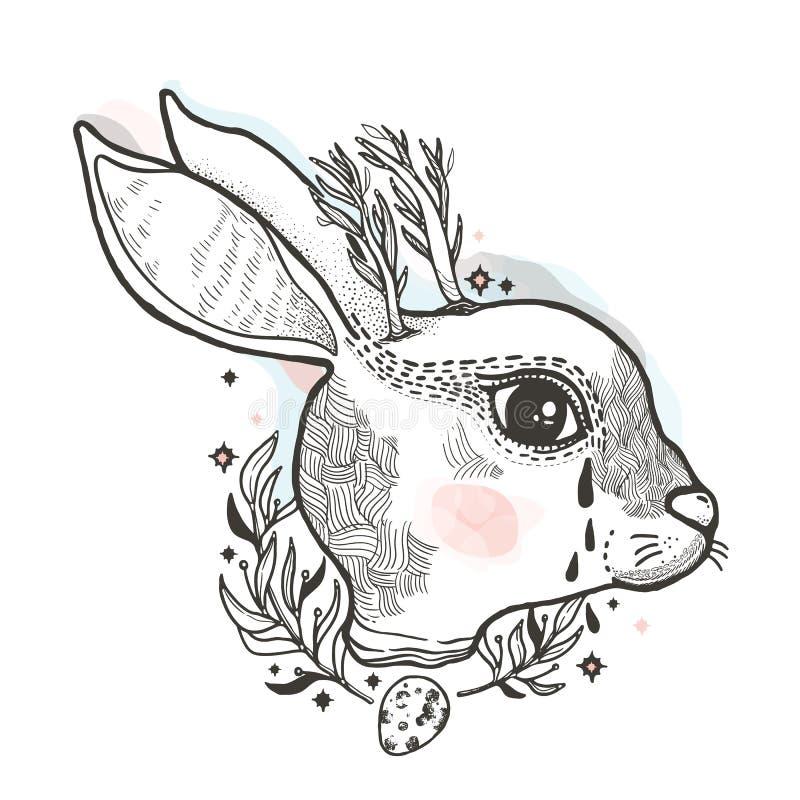 Esquissez le lapin graphique d'illustration avec des symboles tirés par la main mystiques et occultes Illustration de vecteur Con illustration stock