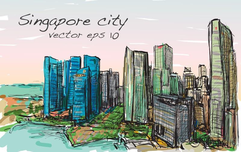 Esquissez le paysage urbain de l'horizon de bâtiment de Singapour, aspiration de carte blanche illustration stock