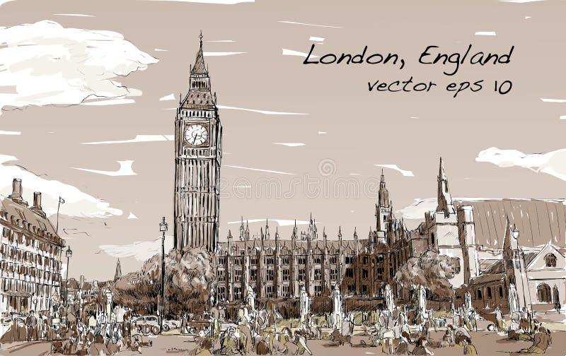 Esquissez le paysage urbain de Londres Big Ben et les maisons du parlement illustration libre de droits
