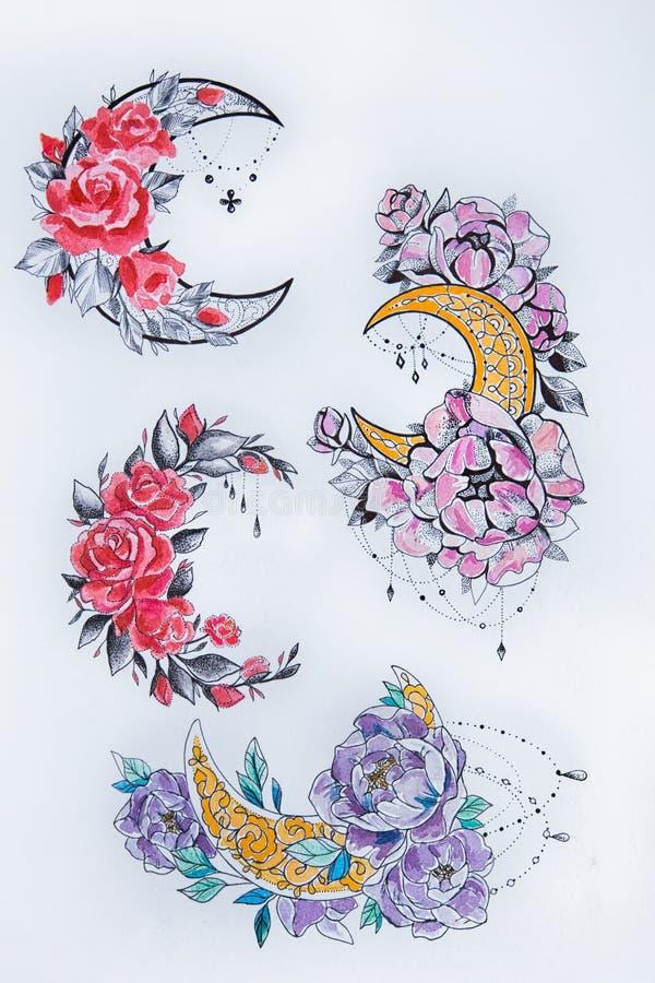 Esquissez les quatre lunes des fleurs sur un fond blanc illustration de vecteur