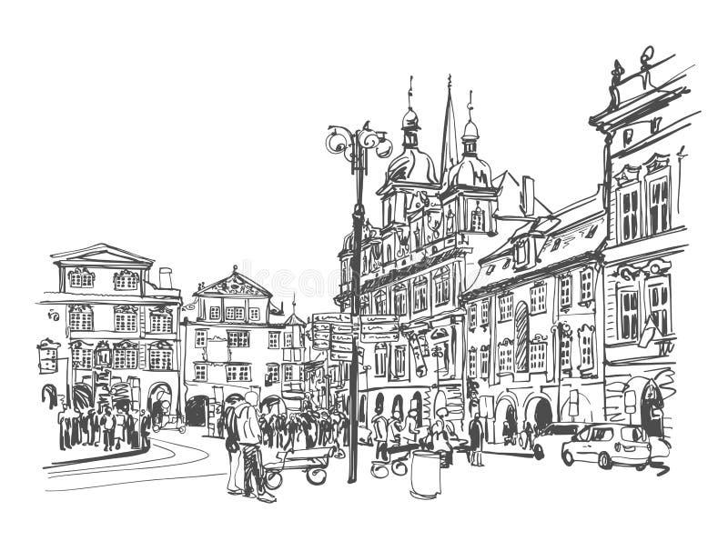 Esquissez rue européenne de déplacement Prague, Tchèque de ville de dessin la vieille illustration de vecteur
