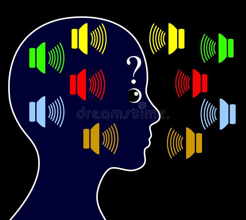 Esquizofrenia con voces de la audiencia ilustración del vector