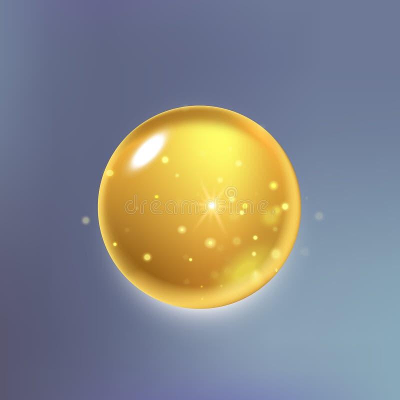 Essência suprema da gota do óleo do colagênio Gota de brilho do soro do ouro superior ilustração royalty free