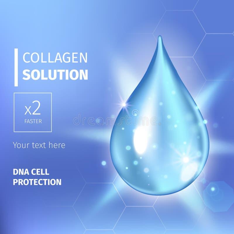 Essência suprema da gota do óleo do colagênio Gota de brilho superior do soro Ilustração do vetor de Solução dos cosméticos ilustração stock