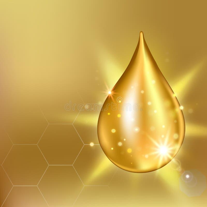 Essência suprema da gota do óleo do colagênio Gota de brilho superior do soro Ilustração do vetor de Solução dos cosméticos ilustração royalty free