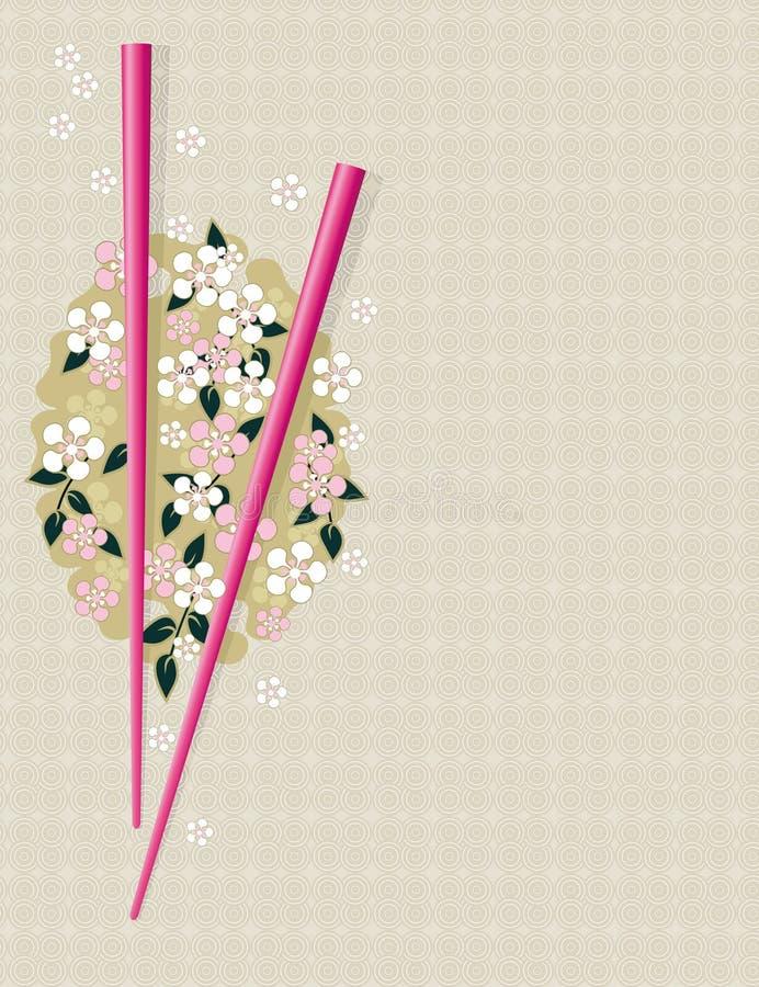 Ess-Stäbchen auf traditionellem asiatischem Muster lizenzfreie abbildung