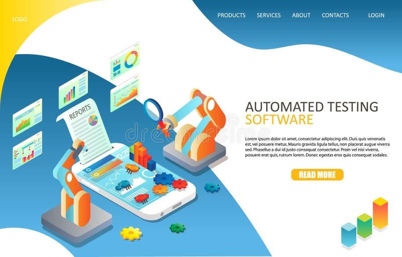 Essai automatisé de logiciel débarquant le calibre de vecteur de site Web de page illustration libre de droits