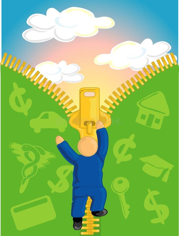 Essai d'échapper à la dette illustration de vecteur