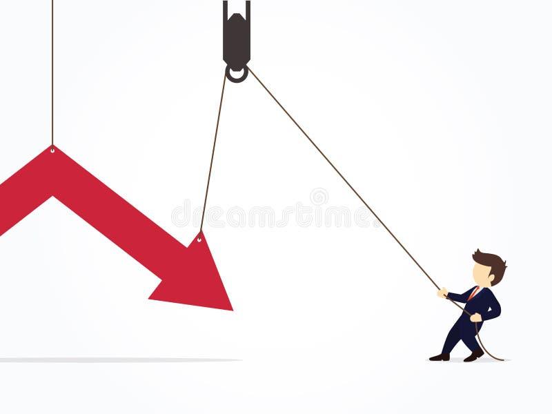 Essai d'homme d'affaires dur pour tirer vers le haut la flèche courante pour empêcher la perte Illustration de vecteur pour le de illustration libre de droits