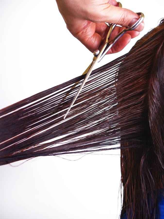 Essai d'homme pour couper des poils de femme photo stock