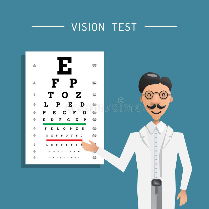 Essai d'oeil d'ophtalmologue illustration de vecteur
