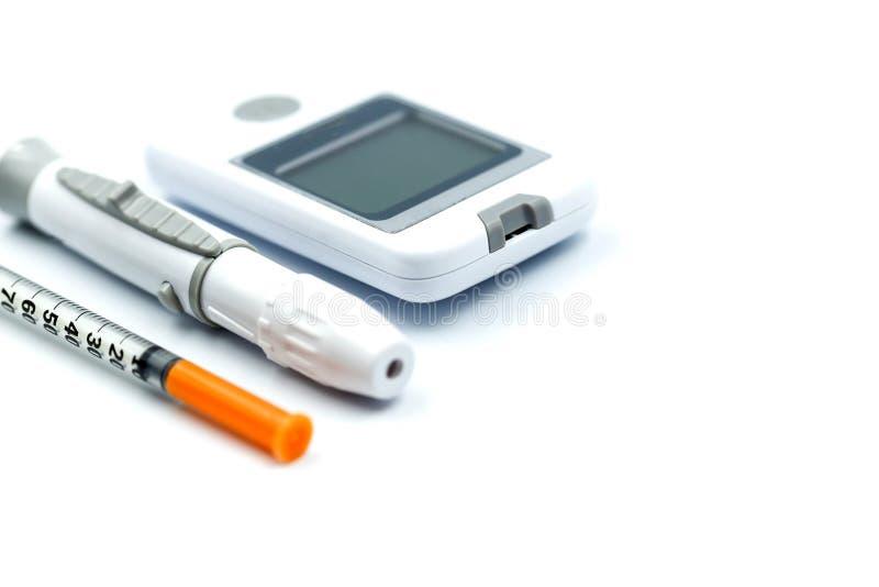 Essai de glucose sanguin de diabète avec la seringue, concept de soins de santé photos libres de droits