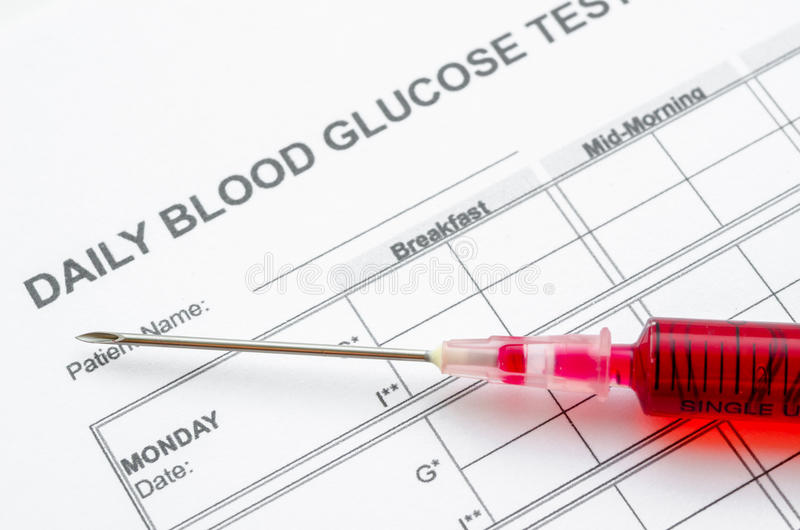 Essai de glucose sanguin et seringue quotidiens de bloodin témoin image libre de droits