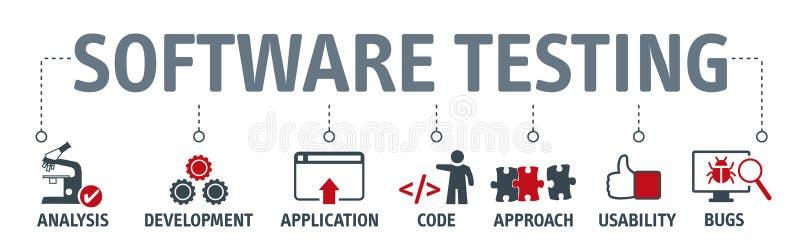 Essai de logiciel de bannière avec des icônes de vecteur illustration libre de droits