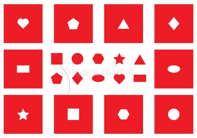 Essai de panneau de forme de Seguin, objets de découverte, différentes formes géométriques rouges, jeu d'éducation d'amusement po illustration stock