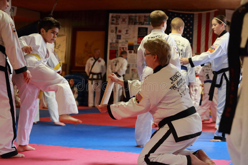 Essai de Tae Kwon Do en Cedar Rapids, Iowa photos stock