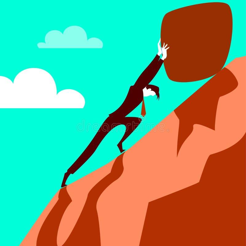 Essai de tirer la pierre vers le haut de la colline illustration stock