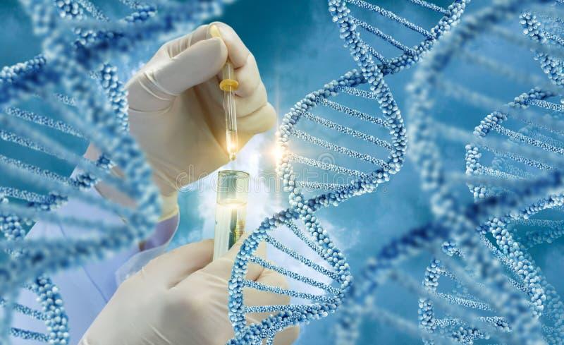 Essai des molécules d'ADN photos libres de droits