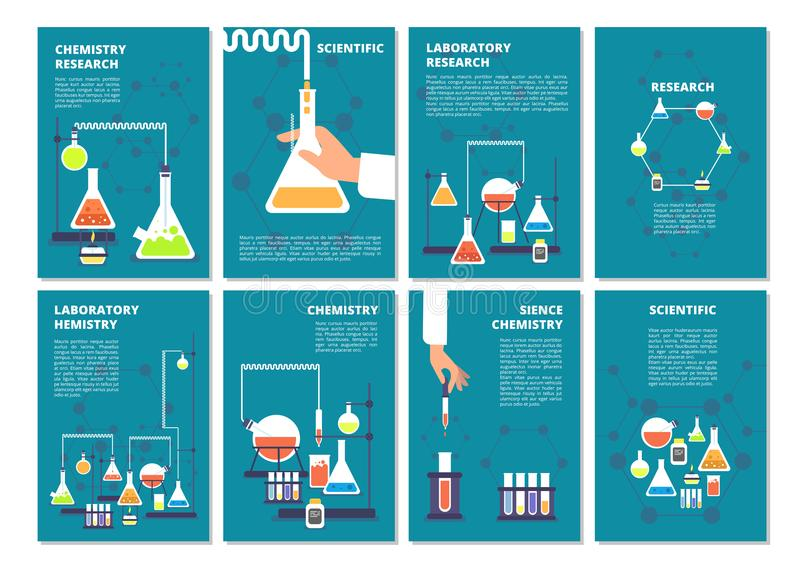 Essai en laboratoire de chimie Laboratoire de traitement de pharmacie et de recherches médicales de la science Couvertures de liv illustration stock
