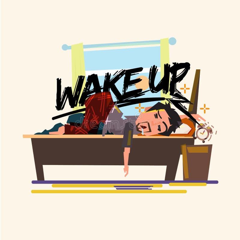 Essai paresseux endormi d'homme à arrêter le réveil pendant le matin paresseux pour réveiller le concept illustration de vecteur