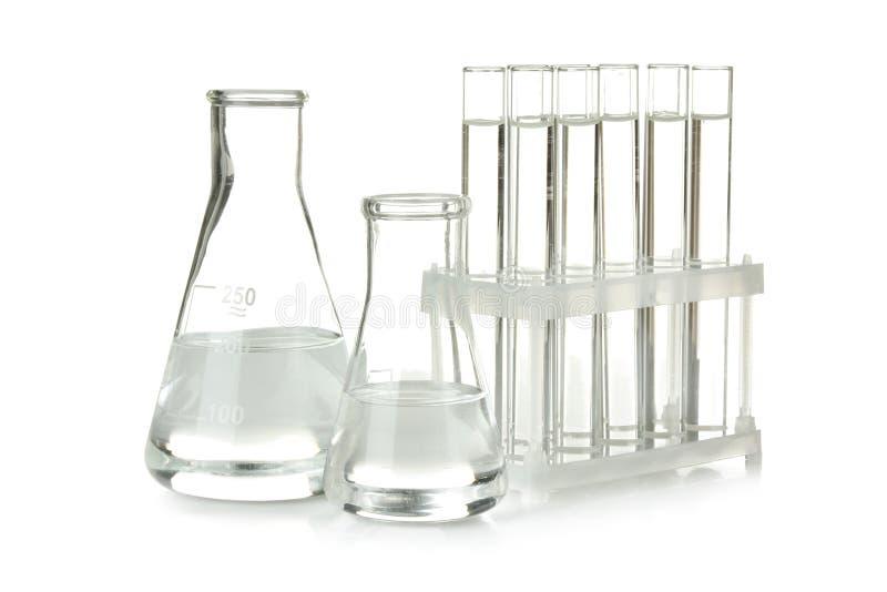 Essai-tubes de fiole conique et en verre photographie stock libre de droits