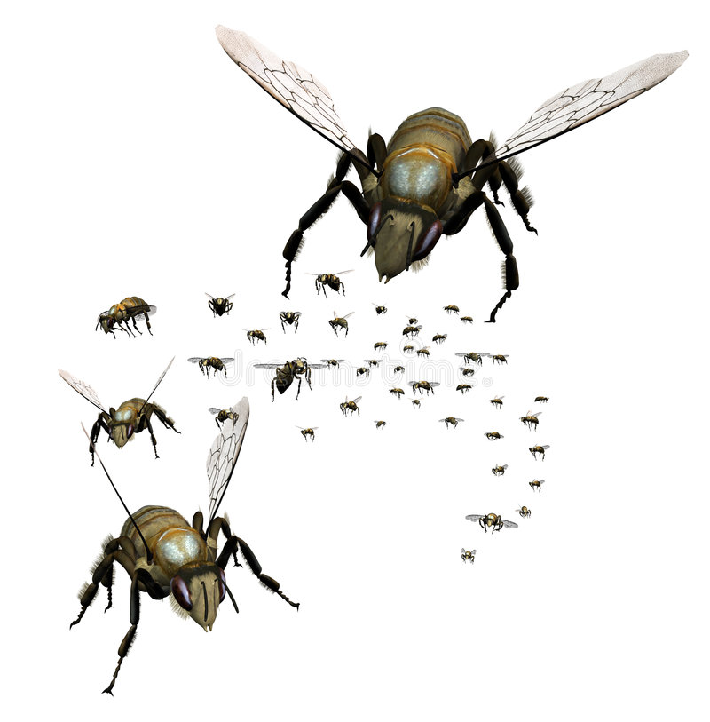 Essaim des abeilles illustration stock
