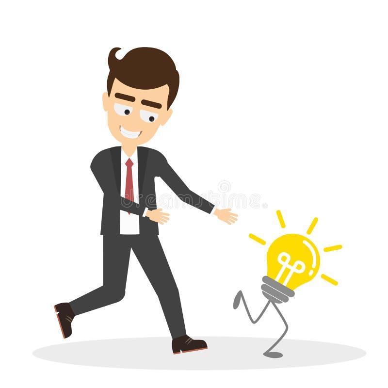 Essais d'homme pour chasser l'ampoule d'idée illustration libre de droits
