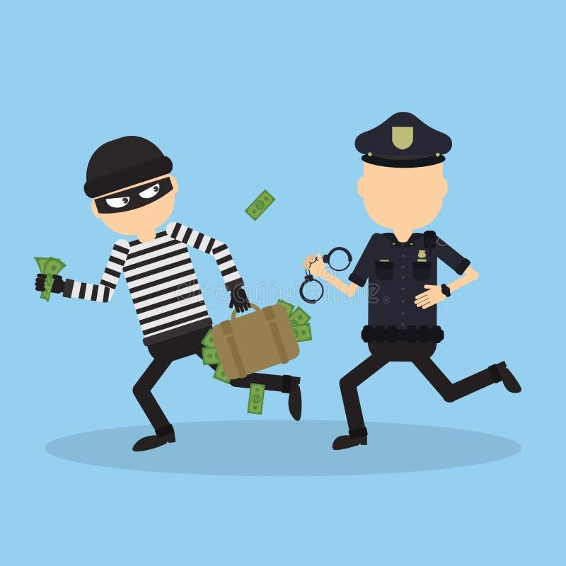 Essais de policier pour chasser un voleur illustration de vecteur