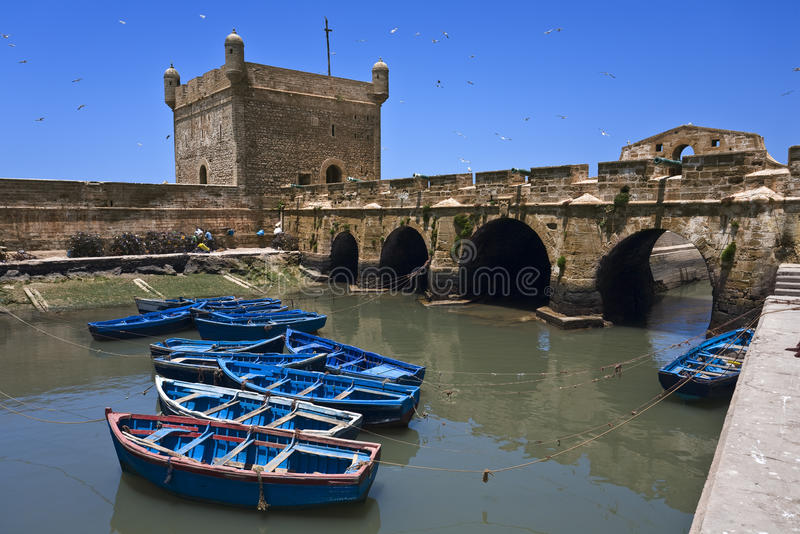 Essaouira. Morocco. Essaouira. The Skala du Port and fish boats stock photos
