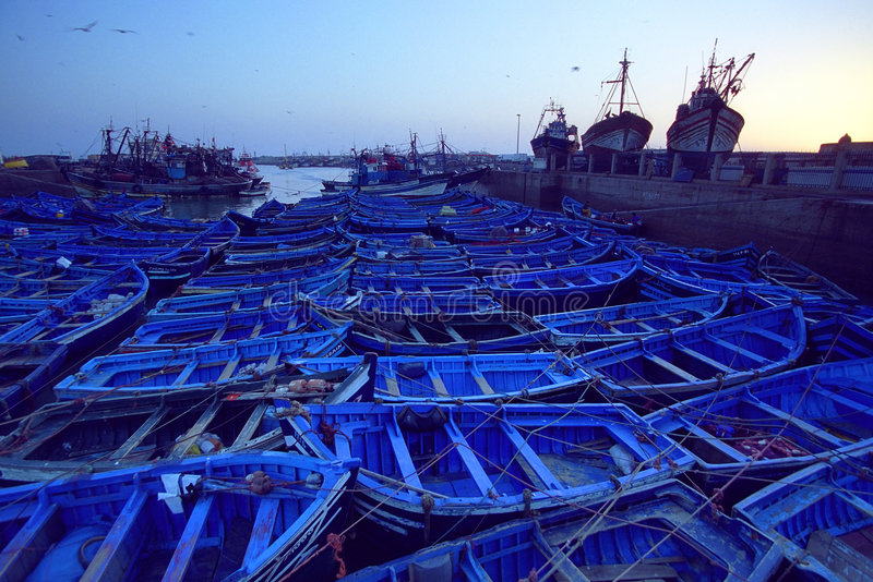 Essaouira. Fishing boats in Essaouira Port, Morocco, Africa royalty free stock photography
