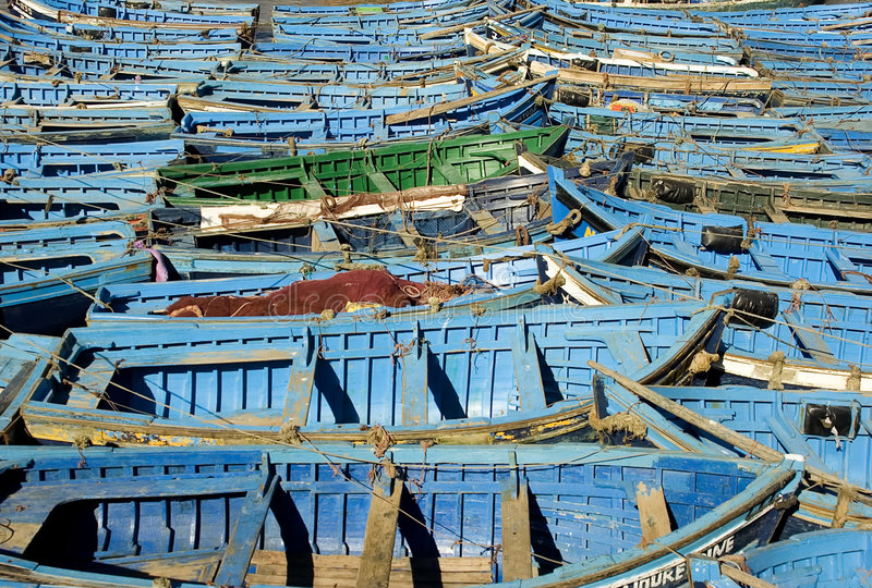 Essaouira. Blue boats in Essaouira port, Morocco stock photo