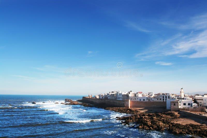 Essaouira city. White town at the ocean. The town of Essaouira, Morocco, at the Atlantic Ocean stock photos