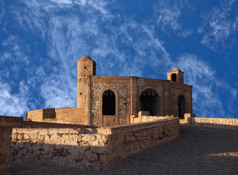 Essaouira Fortress in Morocco on the Atlantic coast, Africa. Ancient fortress on the Atlantic coast in Essaouira, Morocco, North Africa royalty free stock photography