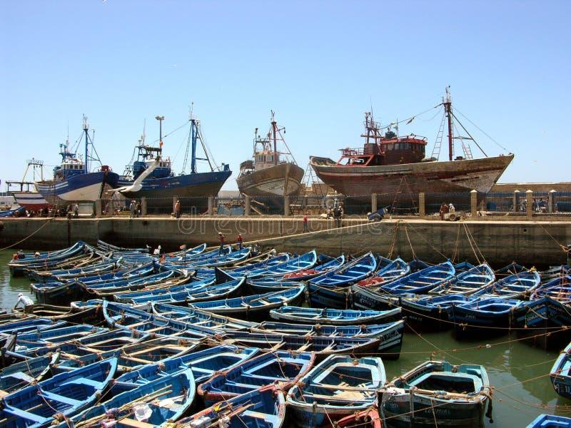 Essaouira hamn av Atlanticet Ocean i Marocko royaltyfri fotografi