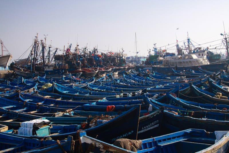 ESSAOUIRA, MARROCOS - 29 DE SETEMBRO 2011: Barcos de pesca azuis incontáveis espremidos junto em um porto totalmente abarrotado fotos de stock royalty free