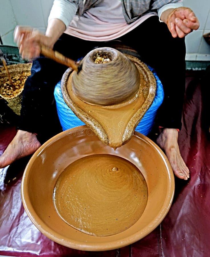 Argan oil processing in Morocco stock photos